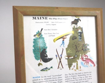 vintage framed map of Maine. Portland. illustration. paper ephemera. old book. frame. lobster. history.