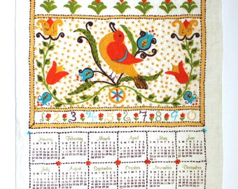 1982 Embroidered Tea Towel with Alphabet and Months of the Year