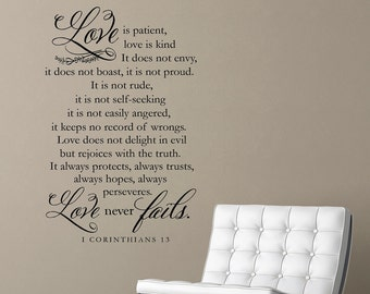 Love is patient, love is kind | 1 Corinthians 13 | Love is patient | vinyl wall decal