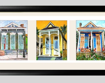 "New Orlean's Shotgun House Art 22x12"" Framed Prints in Triple Mat Signed and Numbered"