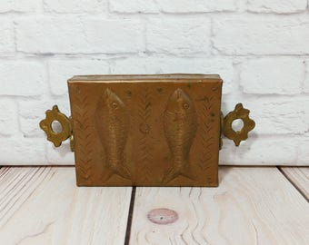 Vintage Copper Fish Mold With Brass Handles