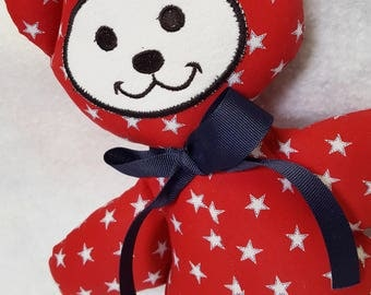 American Bear Red White Blue Stars Toy Boy Girl Gift Baby Shower July 4th Safe