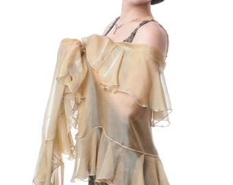 Wrap with Ruffles KAMELIA. Antique Gold Evening Silk Chiffon Stole Wrap Shawl