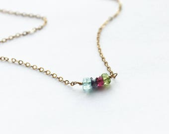 Birthstone Necklace, Tiny Gemstone Necklace in Silver, Rose, or Gold, Birthstone Jewelry, Unique Gift, Dainty Necklace, The Silver Wren