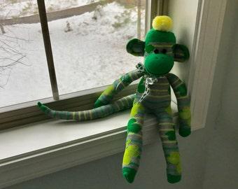 St. Patrick's Day Irish Sock Monkey Doll  Handmade Gray Green Yellow Stripes Shamrocks