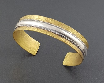 Mixed Metal Cuff, Textured Cuff, Cuff Bracelet, Adjustable, mixed metal cuff bracelet, mixed metal bracelet, brass, sterling silver, cuff