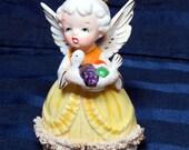 November Birthday Girl ANGEL with Spaghetti Trim/ Vintage Figurine Holding Turkey