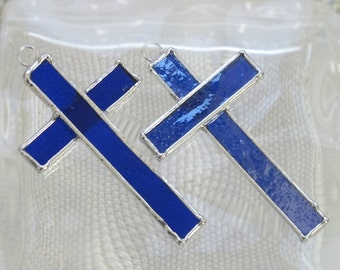Small Stained Glass Cross Suncatcher or Ornament in Electric Blue