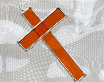 Small Stained Glass Cross Suncatcher or Ornament in Orange