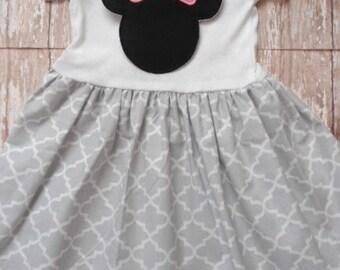 Custom Boutique Clothing Minnie Mouse Dress, Disney Dress, Girls Gray White Dress, Birthday Dress, Custom Girls Dress