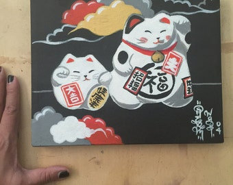 Japanese Lucky Cats Painting