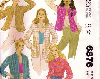 1970s McCall's 6876 Vintage Sewing Pattern Misses Tailored Jacket, Casual Jacket, Vest Size 16 Bust 38