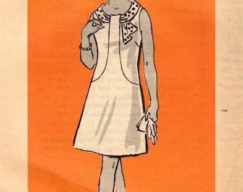 1970s Mail Order 4753 UNCUT Vintage Sewing Pattern Women's A-line Dress, Sleeveless Dress, Short Sleeve Dress Size 46 Bust 50