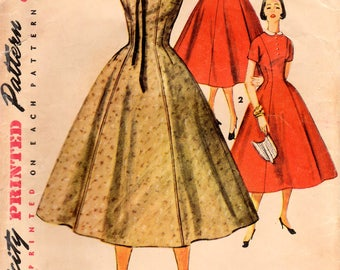 1950s Simplicity 4806 Vintage Sewing Pattern Junior Misses Princess Dress, Afternoon Dress, One Piece Dress Size 13 Bust 31