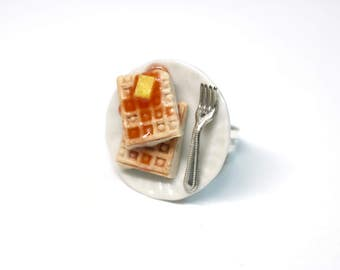 Square Waffle Ring, Miniature Food Jewelry, Polymer Clay Food Jewelry