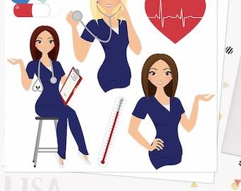 Woman nurse character clipart, healthcare illustration, nursing clipart set with blonde, brunette and auburn hair (Lisa  L071)