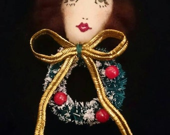 SALE - Hello Dolly!! Eve Christmas Wreath Doll Face Embroidered Bow Brooch Decoration