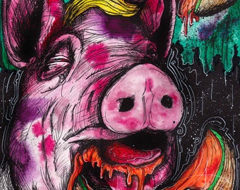 """PIG ART - Animal Drawing - INKtober 2016 - Fine Art Print - Illustration -  """"The Claim Game"""" by Far Out Arts"""