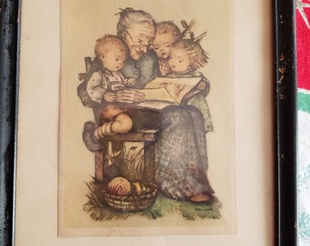 SALE!!  Rare Hummel Print of A Story from Grandma, Vintage, Framed