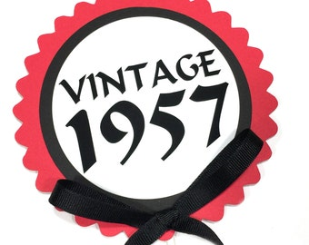 60th Birthday - Vintage 1957 - Cake Topper Decoration, Candy Pick, Black, Red and White - Ready to Ship