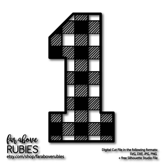 Number One 1 in Buffalo Plaid Pattern First Birthday Boy Girl