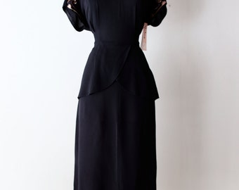 Vintage 1940s Rayon Cocktail Dress ~ 40s Black Rayon Dress With Sequined Neckline and Peplum Size Large
