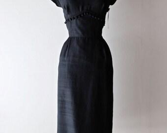 Vintage 1950's Black Silk Wiggle Dress ~ Vintage 50s Black Cocktail Dress With Dingle Balls!