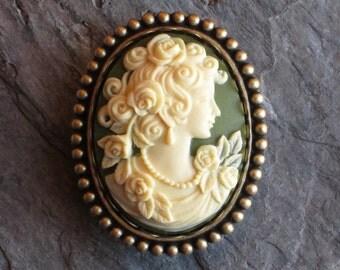 Irish green cameo brooch, antique brass brooch, victorian brooch, green brooch, holiday gift ideas, gift idea for mom, unique Christmas gift