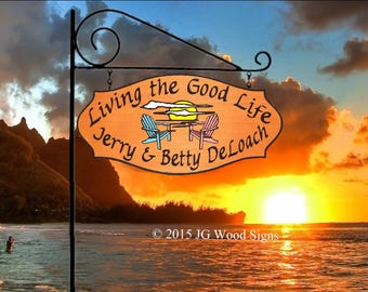 Carved Wood Sign - Colored Sunset and Chairs with Round Garden Holder - RV  Family Name Sign -  Etsy - Lake Beach Cabin JGWoodSigns DeLoach