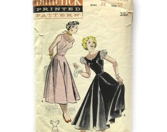 1950s Vintage Sewing Pattern / Teenage Dress with Decollete Scoop Neckline Flared Skirt / Butterick 5581 / Size 10 Bust 28