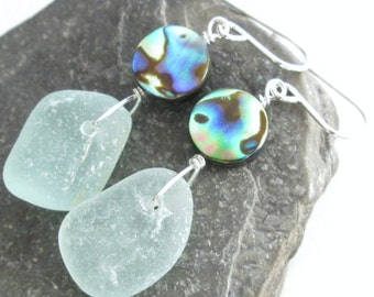 Green Sea Glass Earrings, Natural Abalone Shell Jewelry, Resort Wear