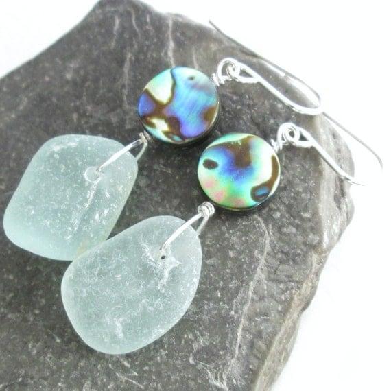 Green Sea Glass Earrings, Natural Abalone Shell Jewelry, Resort Wear