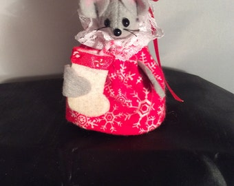 Christmas Mouse Holding a Stocking NEW LOWER PRICE