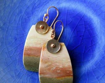 Just Peachy  -  Succour Creek Jasper Slice Earrings
