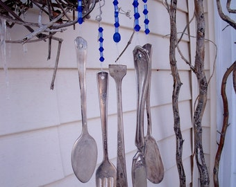 SILVERWARE WIND CHIMES  WindChimes from REcYcLed /REpurposed Silverware with glass beads in shades of blue--an aWeSoMe Gift--Ugot2C !!