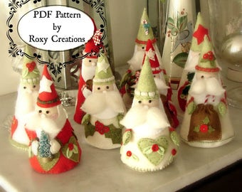 PDF felt sewing PATTERN printable pattern Santa Christmas ornaments felt pattern instant download great gift or christmas decor