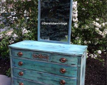 SOLD Painted Dresser - Vintage Dresser - Rustic Farmhouse Dresser - Modern Farmhouse Dresser - Bohemian Dresser - Shabby Chic Dresser
