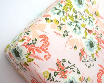 Peach Pink Floral Crib Sheet Wild Posy, Fitted Crib Sheet, Mini Crib Sheet or Changing Pad Cover