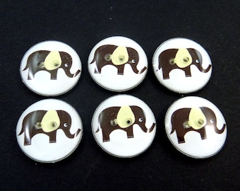 """6 Elephant Buttons. Brown Elephant with Yellow Ears. Sewing Buttons.   3/4"""" or 20 mm.  Novelty Buttons Handmade Washer and dryer Safe."""