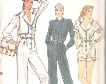 Vogue 8923 1980s Misses JUMPSUIT ROMPeR Pattern Tapered Leg Asymmetrical Top Womens Vintage Sewing Pattern Size 12 14 16 Bust 34 36 38 UNCUT