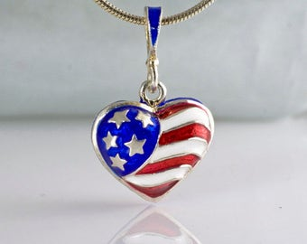 American Flag Jewelry Necklace USA Flag Sterling Silver Pendant Heart American Flag Red White Blue Enamel Patriotic Jewelry Necklace Pendant