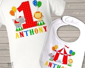 First birthday shirt boy or girl circus personalized Tshirt or bodysuit and circus bib matching set MBD-016-B