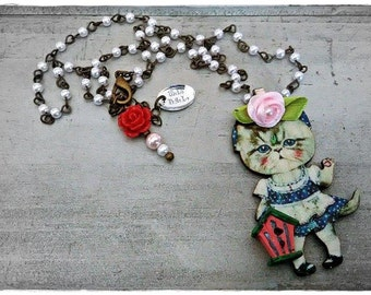 My FaiR KiTtY irresistible kitty cat necklace collection/ MoDeL #5 by WiLd PeArLy