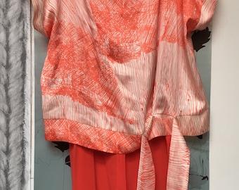 Scribble top kimono sleeve upcycled
