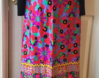 FABULOUS Mod Alex Coleman Psychedelic Retro Wrap Floral Paisley Maxi Skirt GREAT COLORS