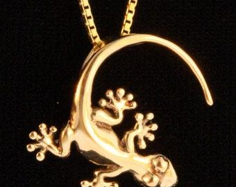Gecko Necklace Gold - 14k Gold Gecko Charm Gecko Pendant - Gecko Jewelry - Lizard Jewelry Lizard Charm Lizard Necklace - Gold Lizard