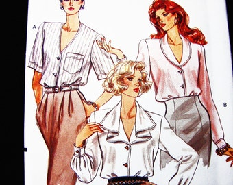 Vintage Blouse Pattern Misses size 12 14 16 UNCUT Vogue Pattern Loose Shawl Collar Blouse, Bias Ruffle Collar Blouse Pattern