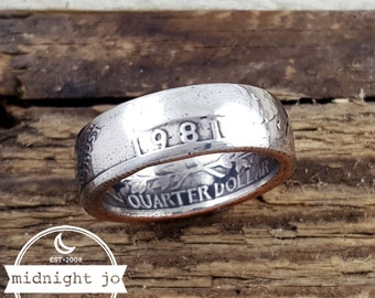 1981 Coin Ring Liberty Quarter Double Sided