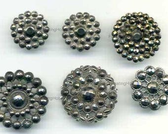 Vintage CUT STEEL BUTTONS buds faceted, 6 Victorian pieces -No missing, genuine Patina & Shank-very good condition -for Clothes, collectors
