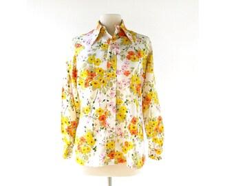 Vintage Floral Blouse | Blumenstrauß | 1970s Shirt | Bergdorf Goodman | Large L